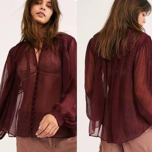 Free People boho blouse dark red sheer lon…
